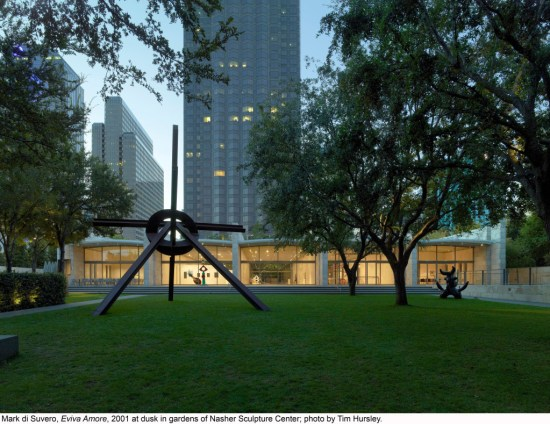 Mark di Suvero, Eviva Amore, 2001 at dusk in gardens of Nasher Sculpture Center; photo by Tim Hursley