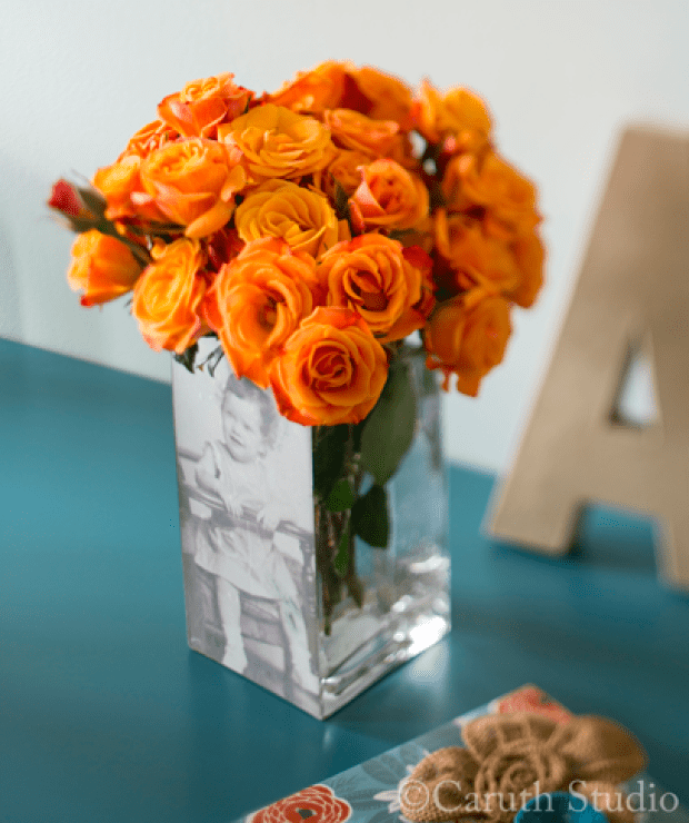 Square vase with a superimposed family photo