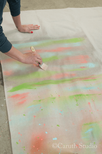 Blending paint for watercolor tablecloth