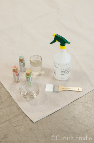 Materials for watercolor tablecloth