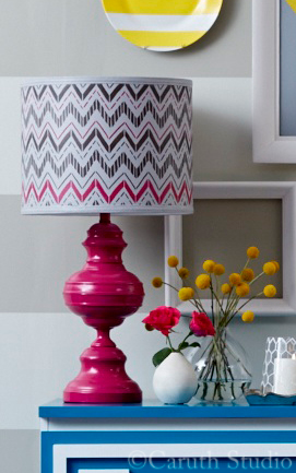 Painted lamp and lampshade
