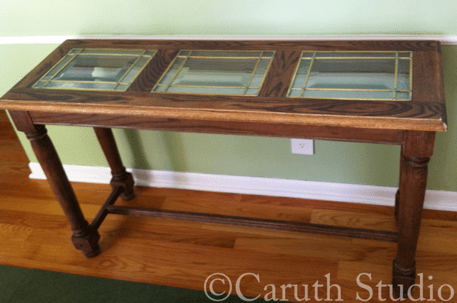 Sofa table before makeover