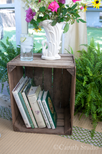 Vintage crate used as side table
