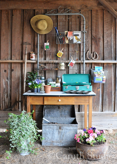 Vintage potting table in shed
