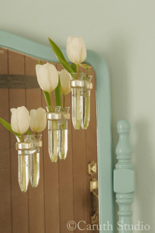 Vases on mirror