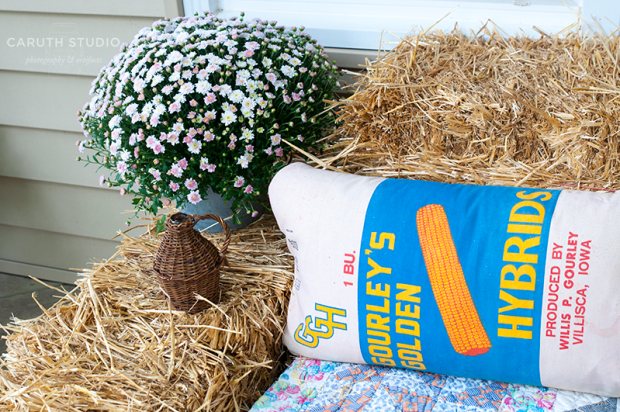 Feed sack pillow in blue, white and orange