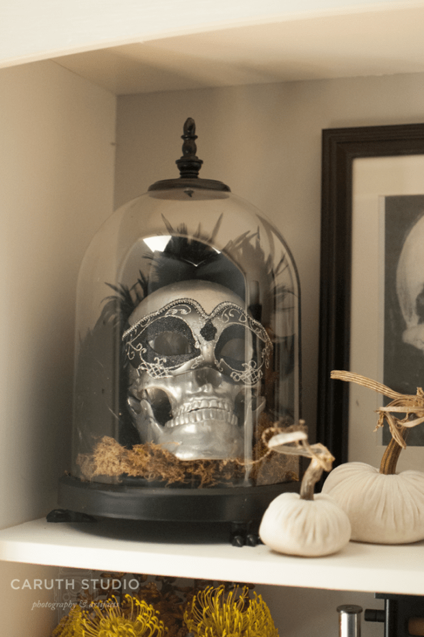 Silver skull with mask