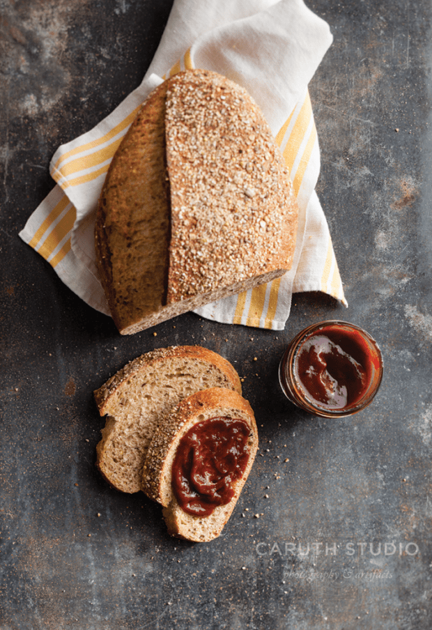 Bourbon Plum Butter oh whole wheat bread