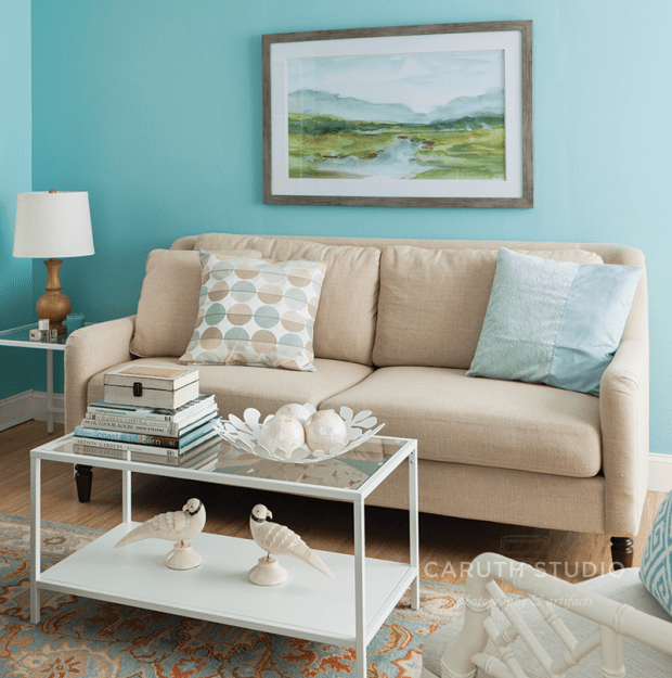 Neutral sofa and tables