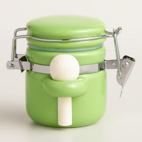 Mini Green Ceramic Canister Set of 6