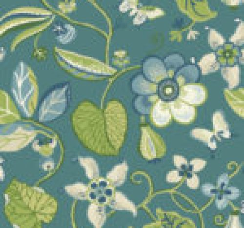 Sea Floral in Meadow on Teal Wallpaper