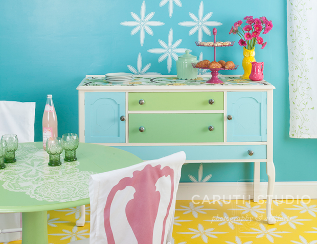 Painted sideboard in green and blue