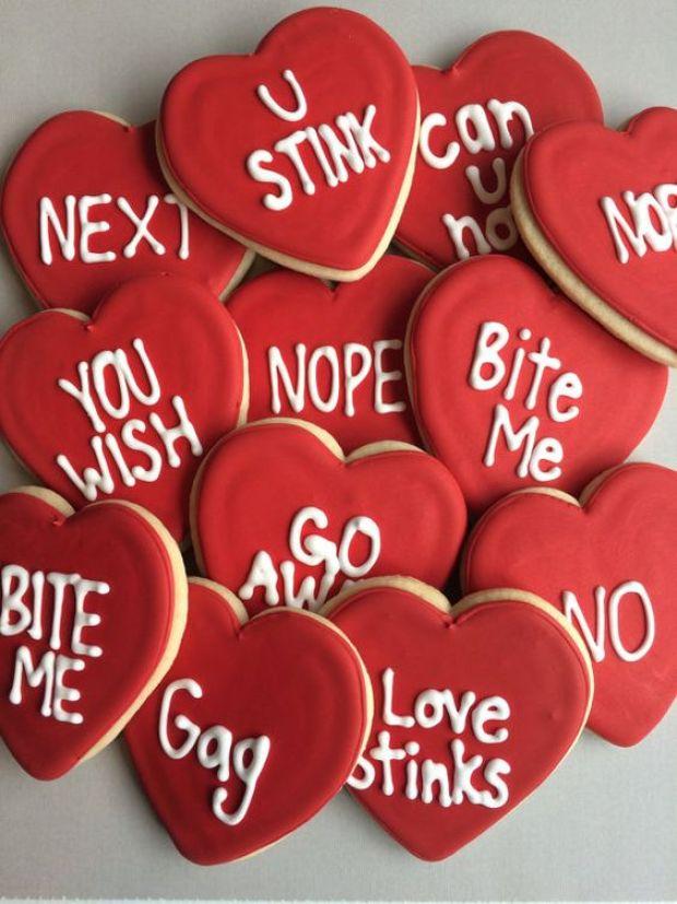 anti-valentine sugar cookies