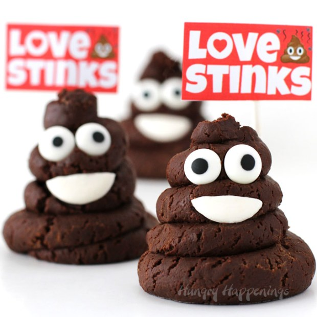 chocolate caramel fudge poop emoji love stinks
