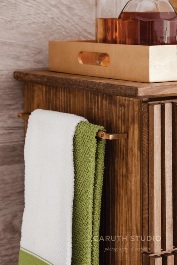 Bar cart towel bar handle