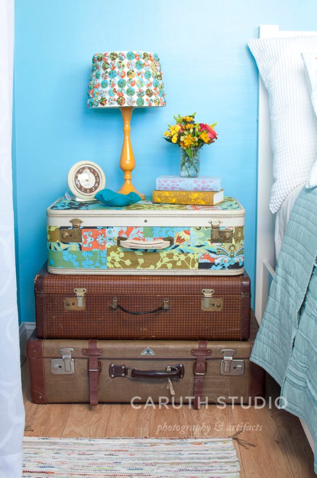 Stacked suitcase nightstand