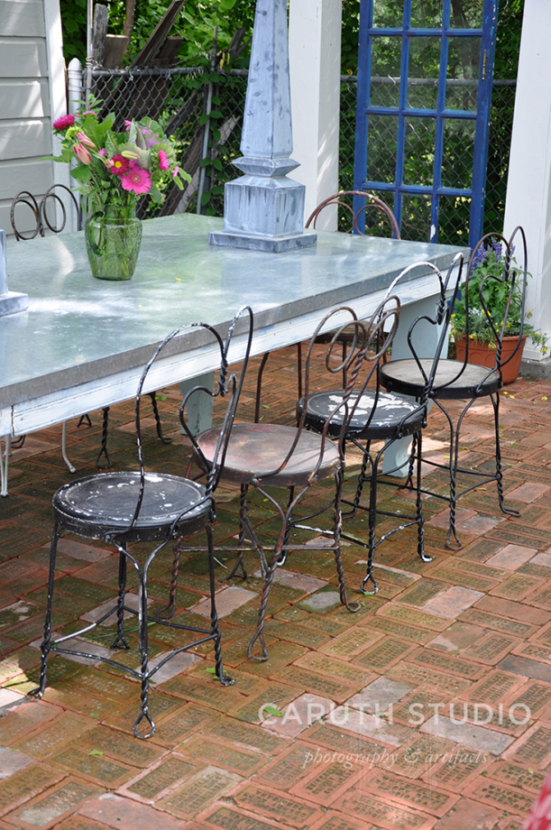 Zinc-top patio table