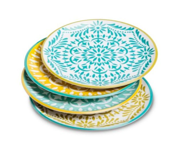 Marika Floral Melamine Assorted Dinner Plate Set 4-pc - Blue/Gold