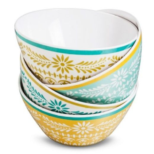 Marika Floral Melamine Assorted Bowl Set 4-pc - Blue/Gold