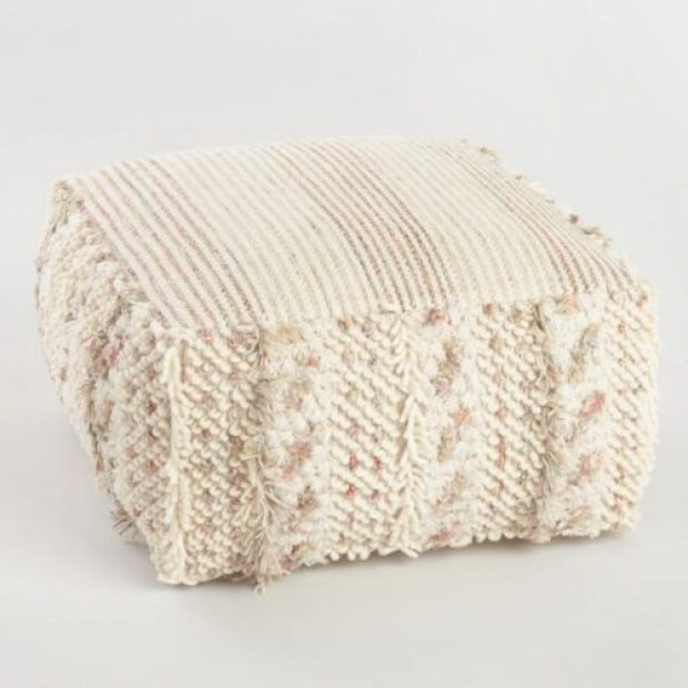 Neutral Stripe Boho Shag Pouf