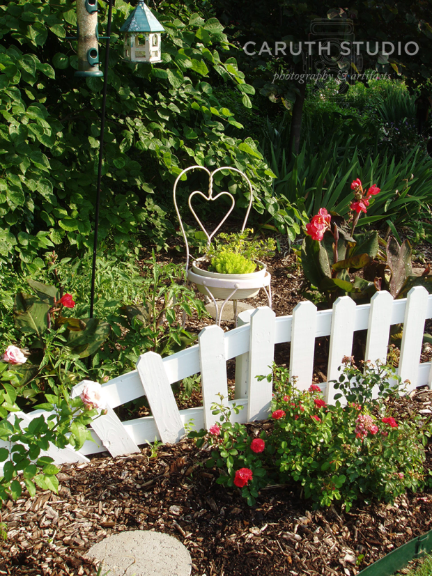 Ornamental bed with small picket fence