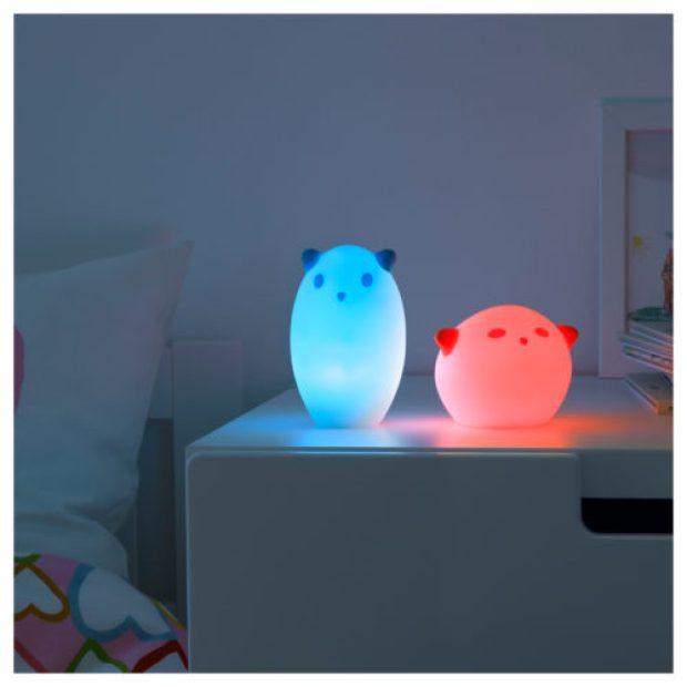 SPÖKA LED night light, animal white, red