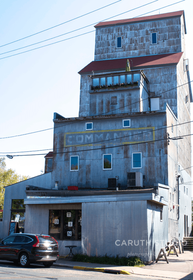 old grain elevator turned into a really cool and compact but tall restaurant