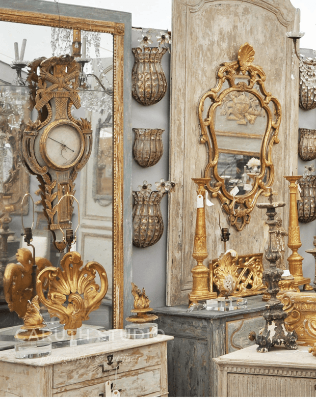 Vintage mirrors and clocks