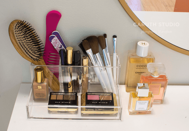 Acrylic containers for makeup supplies