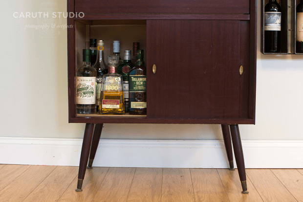 Bar with bottom cabinet open