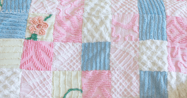 Sewn rows of patchwork