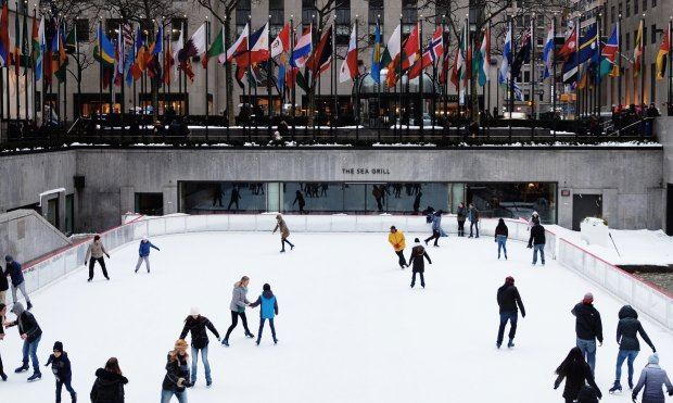 people on an the NY Ice rink
