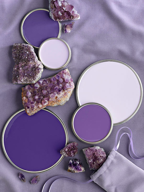 purple color palette on paint can lids