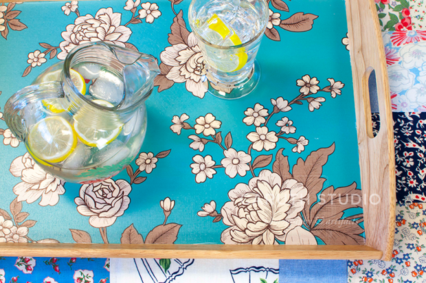 upcycled ikea tray with teal floral print contact paper