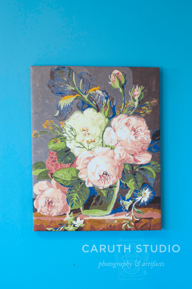 vintage peony painting hung on the wall