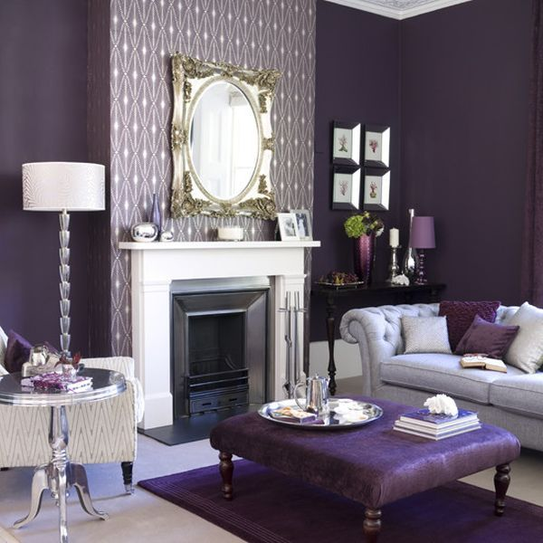 deep purple interior living room with fireplace