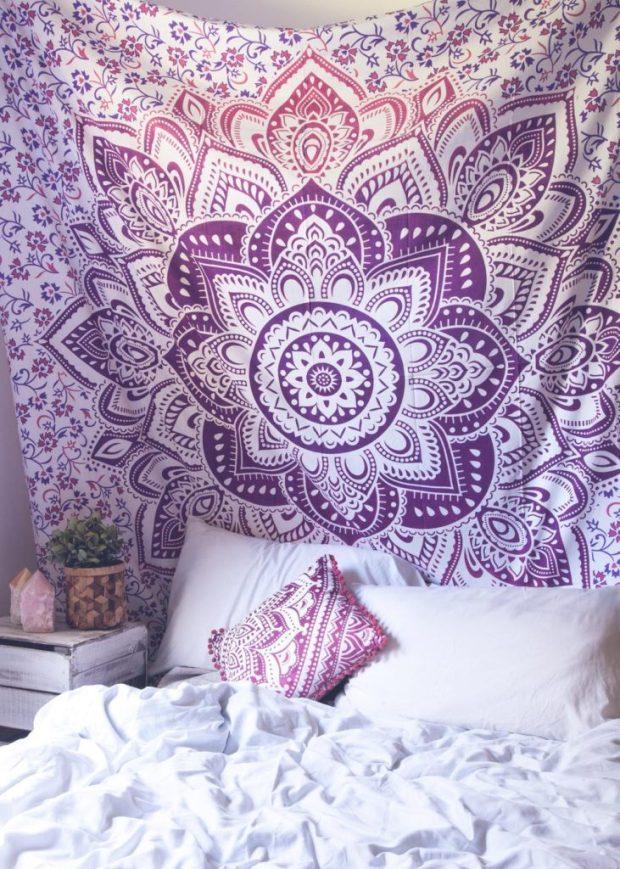 Purple Lotus Medallion Tapestry