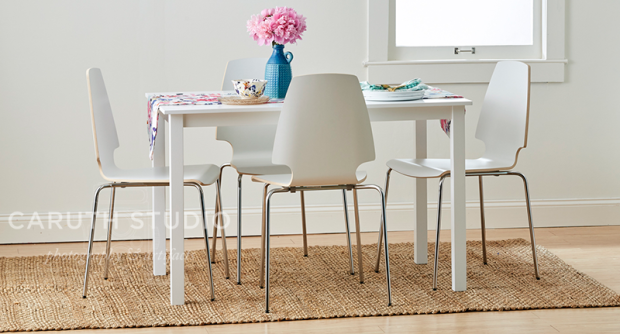 Dining table on sisal rug