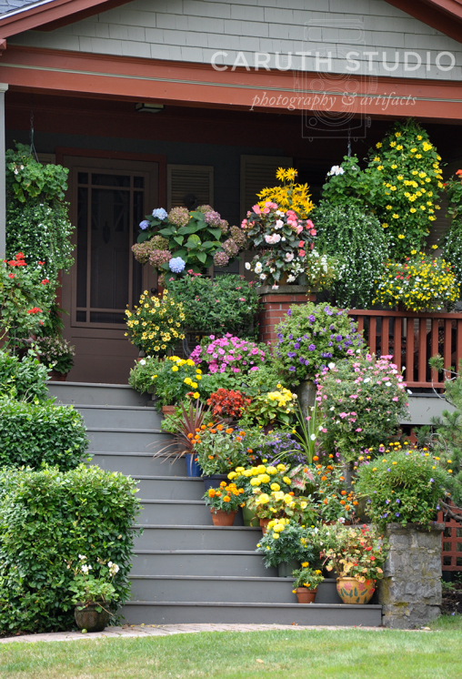 Containers on porch