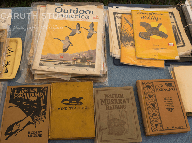 Vintage outdoor magazines and survivor books