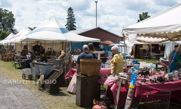 people shopping antiques at Madison Bouckville Antique Week
