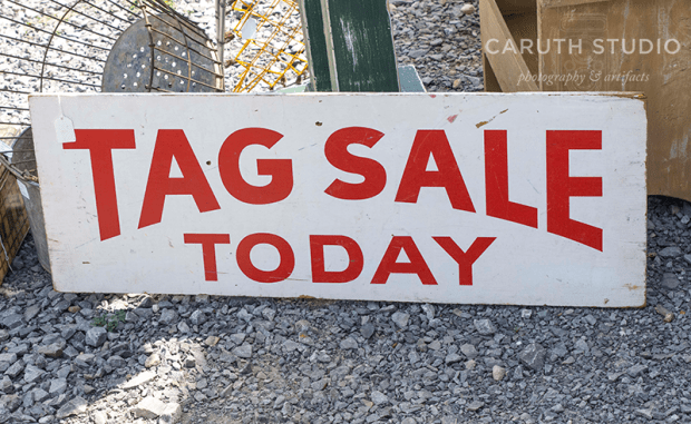 tag sale today sign