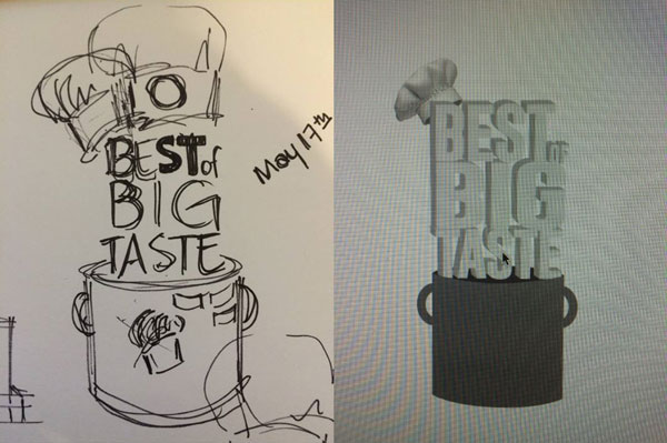 Initial trophy design sketches