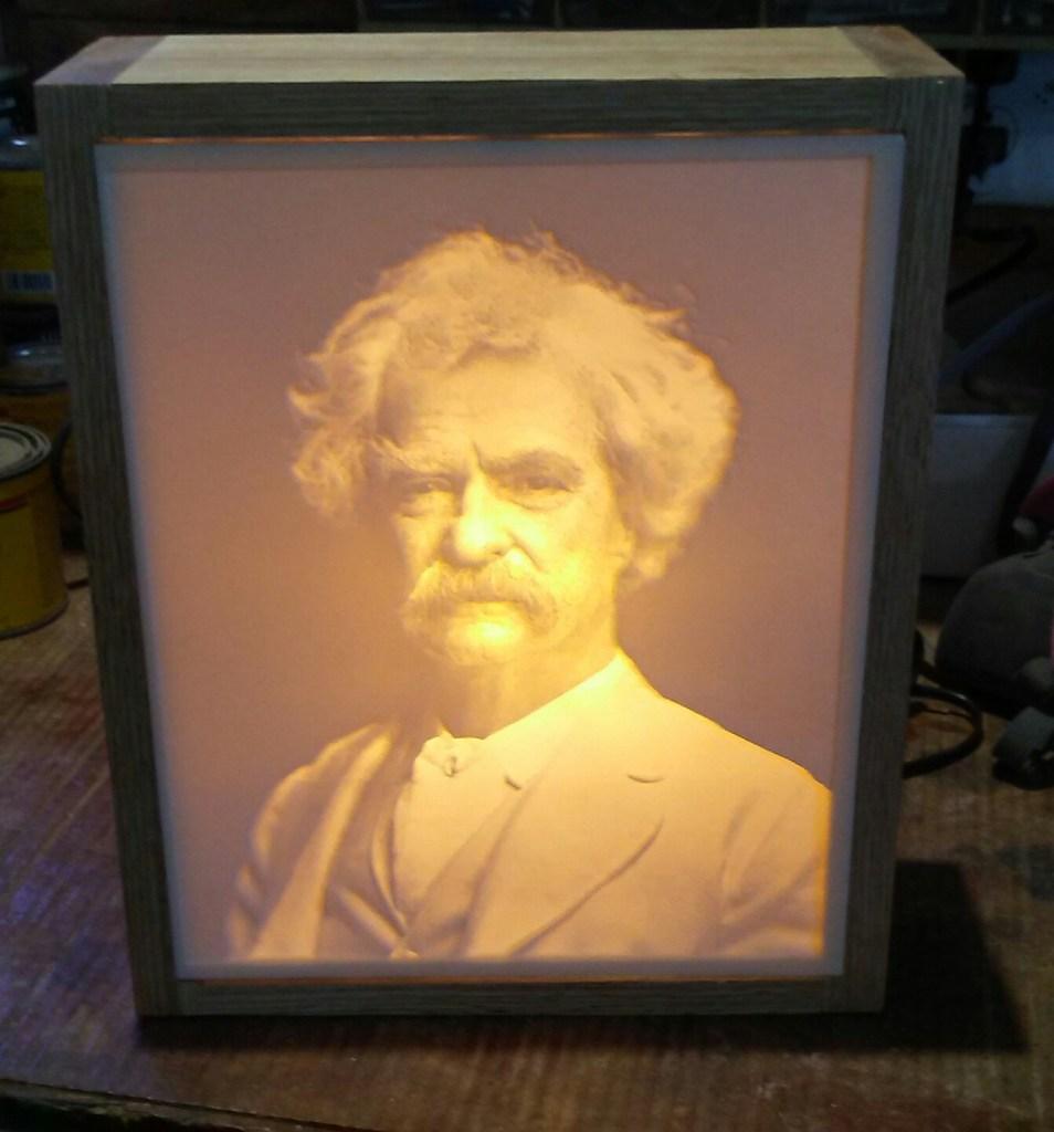 Carved Mark Twain Lithopane