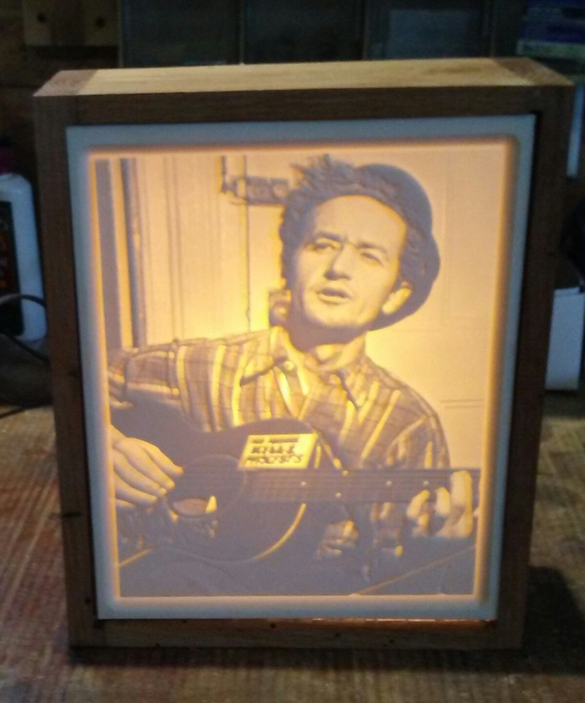 Carved Woody Guthrie Lithopane