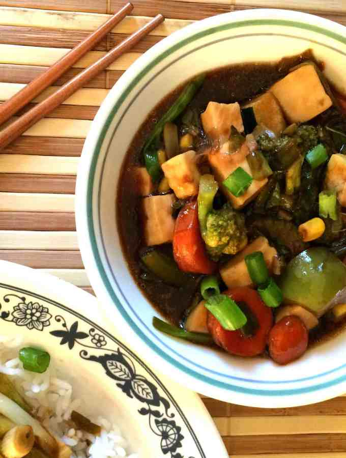 Stir Fry paneer & veggies in teriyaki sauce