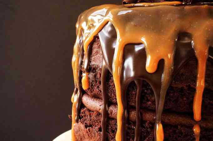 Salted caramel death by chocolate cake