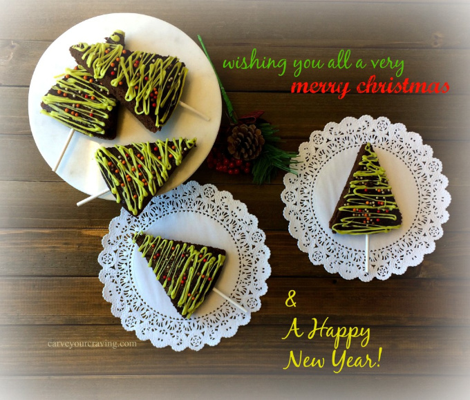 Christmas brownies decorated on a plate