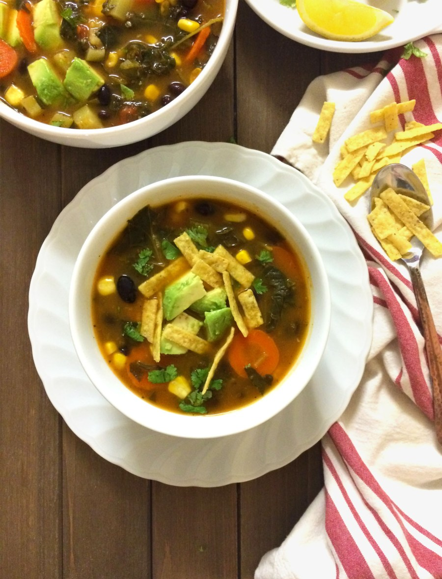 southwest chipotle soup with added greens (vegan and gluten free)