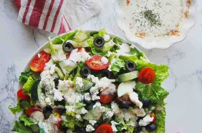 Easy greek salad with vegan cashew tzatziki
